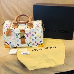 Louis Vuitton Multicolor White Speedy 30